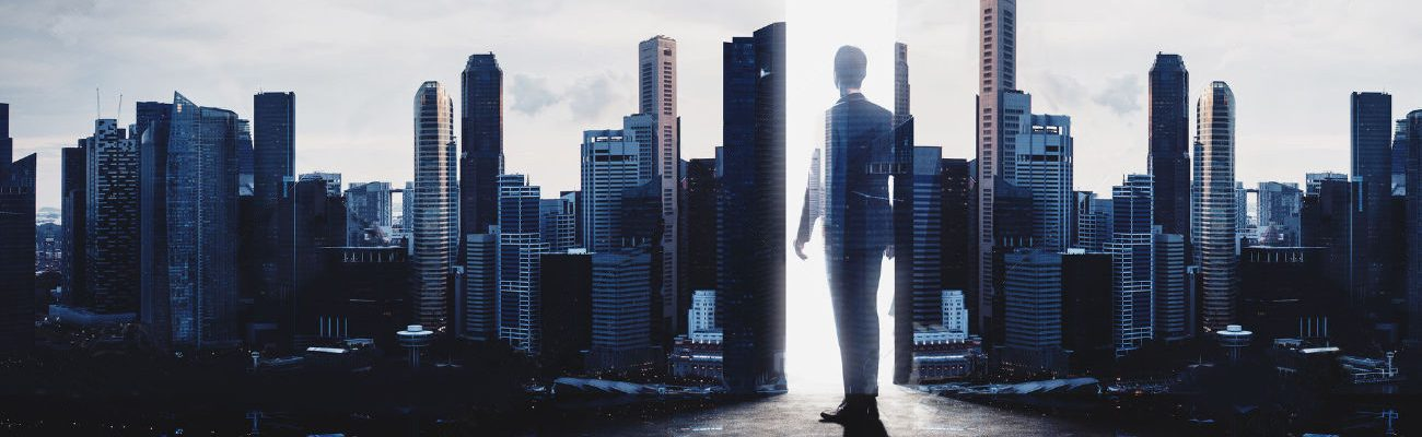52906043-Concept-of-businessman-Double-exposure-photo-of-panoramic-city-view-at-sunrise-Stock-Photo